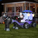 HALLOWEEN DECORATION LAWN YARD INFLATABLE ANIMATED AIRBLOWN KALEIDOSCOPE PROJECTION HAUNTED CARRIAGE 12' LONG