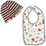 Disney Baby-Boys Newborn Mickey Mouse My First Christmas Reversible Cap And Bib