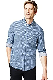 Blue Harbour Pure Cotton Highlighted Striped Shirt