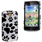 For Huawei Ascend G300 Dog Cat Paw Foot Printed Hard Shell Protected Case Cover + Stylus