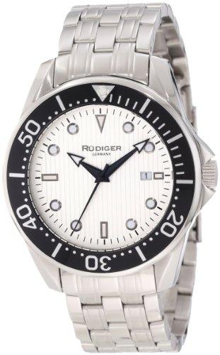 Rudiger Men's R2000-04-001 Chemnitz Black IP Rotating Bezel Silver Luminous Dial Watch