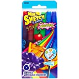 Mr. Sketch Stix Washable Scented Watercolor Markers, Fine-Tip, Set of 6, Assorted Colors (1924064)