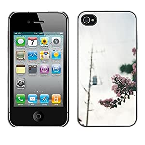Omega Covers - Snap on Hard Back Case Cover Shell FOR Apple iPhone 4 / 4S - Blooming Photo Power Lines Grey Sky