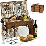 Image of Picnic Plus Woodstock 4 Person Picnic Basket with Insulated Cooler