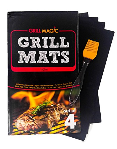 hölm Grill Mat & Pan Liner - Set of 4 - Heavy Duty Non stick BBQ Grilling Mats 16 x 13 Inch (Grilled Veggie Basket compare prices)
