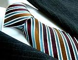 LORENZO CANA Luxury Tie Jacquard Woven Italian Silk Handmade Necktie Ties - Brown Striped Pattern