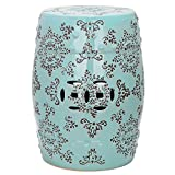 Robbins Egg Blue Medallion Ceramic Patio Stool