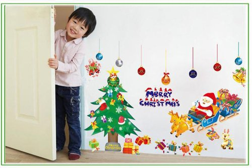 Christmas Gift Present Wall Sticker Decal Home Decor Tree Santa Claus for Kid's Room