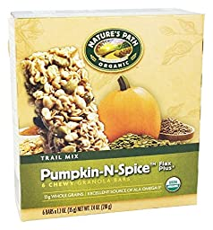 Nature\'s Path Organic - Chewy Granola Bars Flax Plus Trail Mix Pumpkin-N-Spice - 6 Bars(pack of 2)