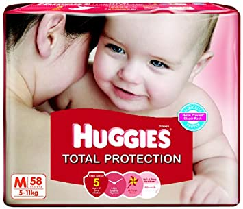 Image result for Huggies Total Protection Medium Size Diapers (58 Count)