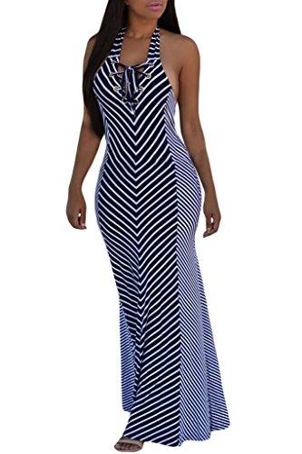 Annflat Women's Nautical Stripes Beach Halter Mermaid Maxi Dress Medium Blue Nautical Stripe Dress