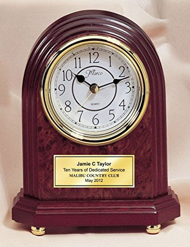 Personalized Wood Burl Mantle Arch Clock with Gold Step Foot and Gold Engraving Plate. This Arch Desk Clock are great wedding gifts, anniversary gifts and employee recognition retirement gifts.