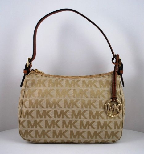 Michael Kors Small Top Zip Shoulder Mk Signature Bag Beige/Camel/Luggage