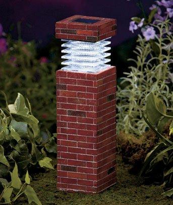 "11"" Solar Garden Pillars- Brick"