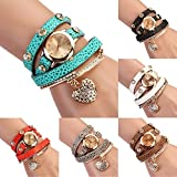 Women's Fashion Rhinstone Faux Leather Wrap Bracelet Quartz Watch with Heart Pendant