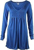 Ladies Womens blue or Mauve Pintuck Tunic Top Blue Mauve purple