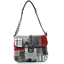 Multi Fabric Patchwork Twill Pattern Autumn Winter Shoulder Handbag Purse (Black)