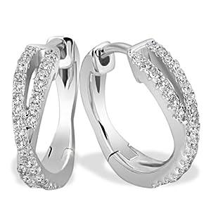 Goldmaid Creolen Linien 585 Weißgold 60 Diamanten 0,24 ct. Pa O5572WG