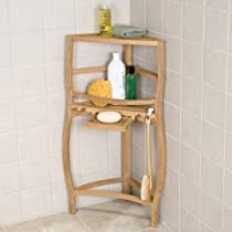 Freestanding Teak Curved Corner Shower Shelf with Pull Out Soap Dish