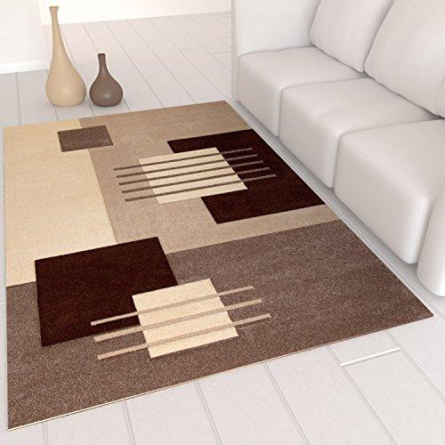 VIMODA cascadapl6081 Tappeto di design moderno Per soggiorno, bordi tagliati a mano, beige/marrone , beige, 80 x 150 cm