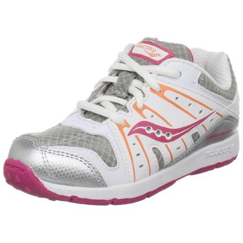 Saucony Grid Flex Running Shoe (Little Kid/Big Kid),Silver/Pink/Orange,7.5 M Us Toddler