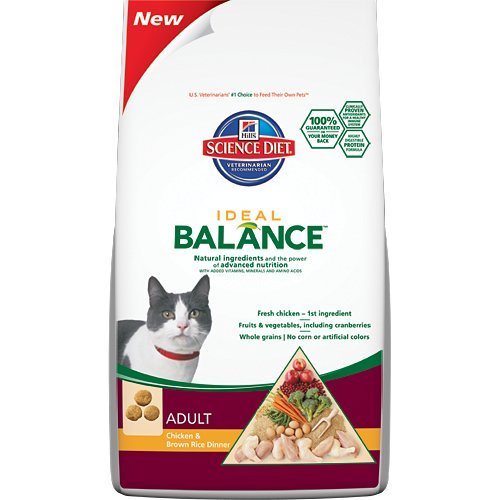 See Hill's Science Diet Ideal Balance Feline Adult Chicken and Brown Rice Dinner Dry Cat Food Bag, 15-Pound