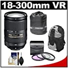 Nikon 18-300mm f/3.5-5.6G VR DX ED AF-S Nikkor-Zoom Lens with 3 Filters + Backpack Case + Accessory Kit for D3100, D3200, D5100, D7000 & D7100 Digital SLR Cameras
