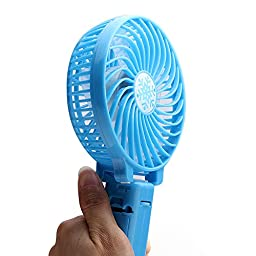 Foldable battery Fans Rechargeable Fans Portable Battery Fan USB Mini Foldable Cooling Fans From Comroll (BLue)