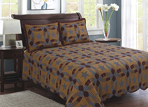 American Hometex Prairie Wedding Ring Quilt Set, King