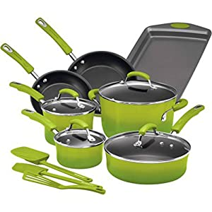 Rachael Ray Hard Enamel Nonstick 14-Piece Cookware Set, Green Gradient | Long-Lasting Nonstick Cookware Set, Green Gradient