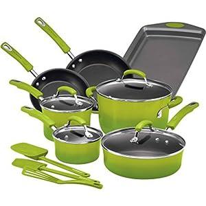 Rachael Ray Hard Enamel Nonstick 14-Piece Cookware Set, Green Gradient | Long-Lasting Nonstick Cookware Set, Green Gradient