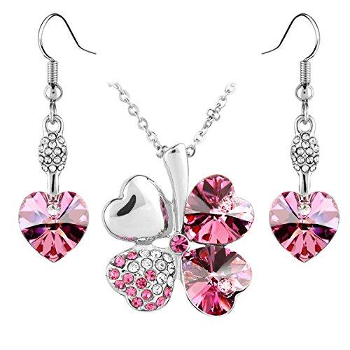 Le Premium® Parure placcata oro bianco collana trifoglio e orecchini cuore coordinati, con cristalli Swarovski Elements rosa
