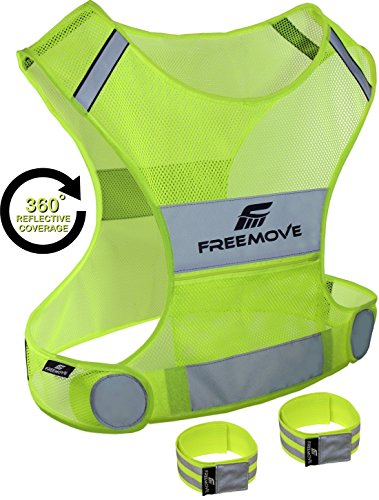 Reflective Vest for Running Cycling Dog Walking | High Visibility & Comfortable | Reflective Running Gear Vest | Motorcycle Reflective Safety Vest with Pockets | Bike Reflector Vest | 2x Armband & Bag (Running Gear compare prices)