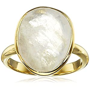 Sterling Silver with Yellow Gold Flashed Bezel Set Rainbow Moonstone Ring, Size 7