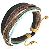 Gents Multi Colour Leather & Cotton Surf Style Bracelet, Length 21cms