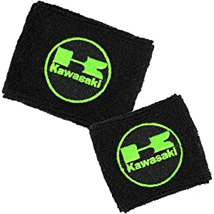 Kawasaki Brake/Clutch Reservoir Sock Cover Set Available in Black/Green and Black/Red, Fits ZX-6R, ZX-9R, ZX-15R, ZX-12R, ZX-14R, ZX6, ZX9, ZX15, ZX12, ZX14, Ninja