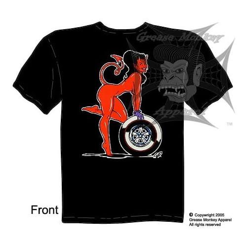 Wheel Devil Girl, Kustom Kulture T Shirt, New, Ships within 24 hours