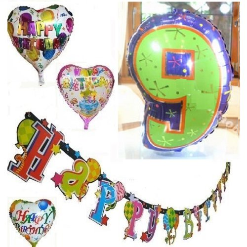 Happy ☆ birthday birthday party decorations set an oversized balloon balloons 1 piece & heart-shaped balloon balloon 3 - 0 - HAPPY BIRTHDAY banner [number ☆ years anniversary] ([9] numbers).