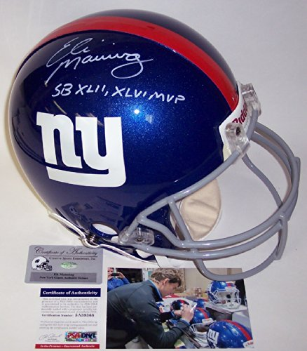 Jason Pierre Paul Stats: Eli Manning Autographed Hand Signed New York Giants Full