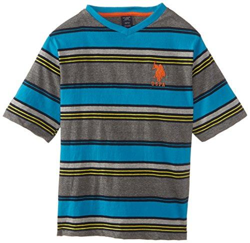 U.S. Polo Assn. Big Boys' Short Sleeve Multi-Stripe V-Neck T-Shirt, Surf Blue, 18