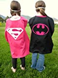 Reversible Supergirl Batgirl Superhero Pink Cape Costume with Mask