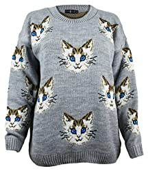 The Home of Fashion Womens Grey Multi Cat Kitten Face Long Sleeved Chunky Knitted Jumper