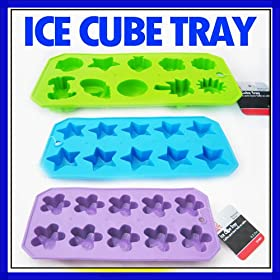 3 Silicone Ice Tray Star Shaped Cube Mold Beach Fun New Party Chocolate Soap Set