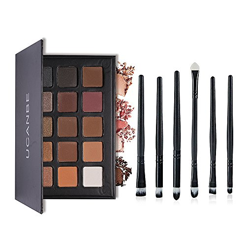 Ucanbe Pro Eyeshadow Palette with 6pcs Pro Eye Makeup Brushes - Matte + Shimmer 15 Color - Highly Pigmented Natural Nude Warm Neutral Eye shadow Kit