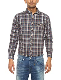 Pepe Jeans Mens Blue Slim Fit Casual Shirts
