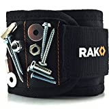 RAK Magnetic Wristband (1 Pack) with 10 Strong Magnets for Holding Screws, Nails, Bolts, Washers, Drill Bits (Black)