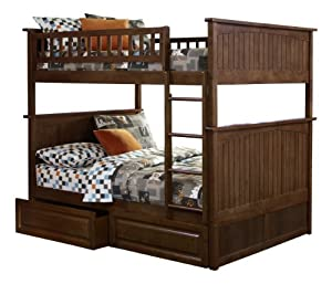 New Atlantic Furniture Nantucket Full Over Full Bunk Bed With 2