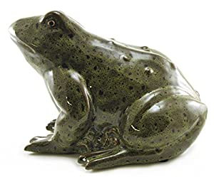 Amazon.com - Large Ceramic Sitting Green Frog Toad Statue Figure, 12