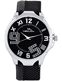 Latest Design Black Leather Belt Watch, Round Black And Silver Dial Analog Watch For Men's/Boys Classic Fashionable...