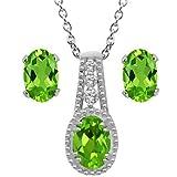 2.00 Ct Green Peridot & White Topaz Sterling Silver Pendant & Earrings Set